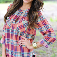 Crossing Paths Blouse: Coral/Plaid | Hope's