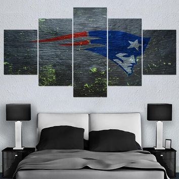 5 Pcs New England Patriots Canvas Painting Calligraphy Sport Ball Team Poster Wall Art Paintings Modern Home Decor Picture