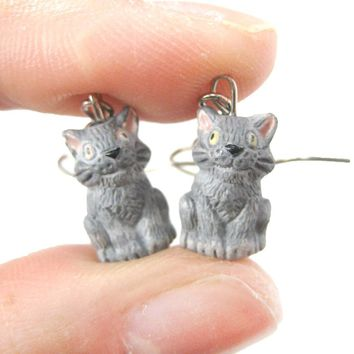 Unique Kitty Cat Shaped Porcelain Ceramic Animal Dangle Earrings | Handmade
