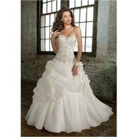 Empire Strapless Chapel Train Chiffon Wedding Dress WEM04844 - Wedding Dresses