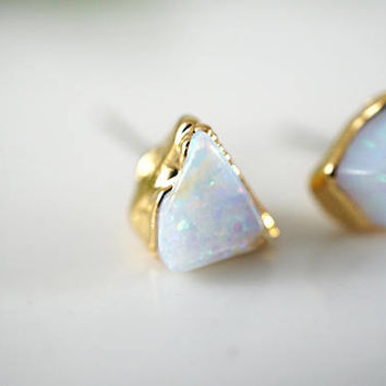 Raw Opal Earrings • Opal Earrings • Opal Stud Earrings • Gift for Wife • Gold Earrings • Raw Stone Earrings • October Birthstone