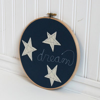 dream embroidery hoop art, white stars appliqued on blue fabric