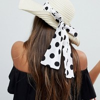 ASOS Straw Floppy Hat with Polka Dot Bow Detail and Size Adjuster at asos.com