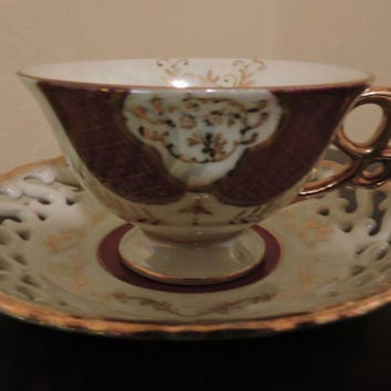 Vintage Japan Porcelain Miniature Iridescent Dark Purple Ornate Design Lace Lattice Design Saucer Tea Cup & Saucer Set