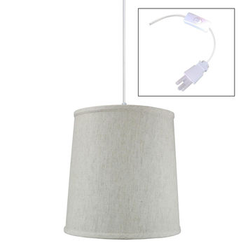 0-001790>Textured Oatmeal Shantung 1 Light Swag Plug-In Pendant Hanging Lamp