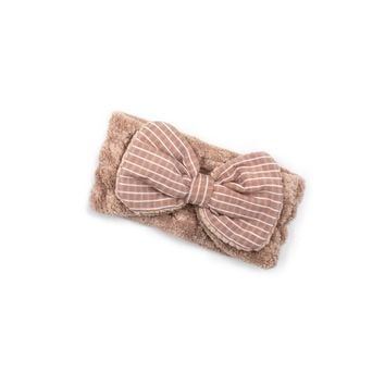 """Women's Cosmetic Headband, Rose with """"Stripe"""" print Gingham Style Bow, by MinxNY"""