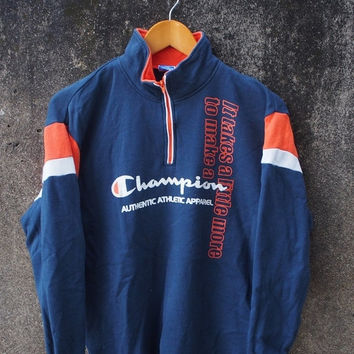 ON SALE 20% Vintage CHAMPION Athletic Wear 80's Usa Sportswear Big Logo Pullover Crewneck Sweater Sweatshirt Size M