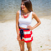 Striped Shorts in Red and White
