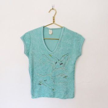 Vintage 1970s Novelty Print Top / Mint Green Terry Cloth w/ Seagull Print / Festival Shirt