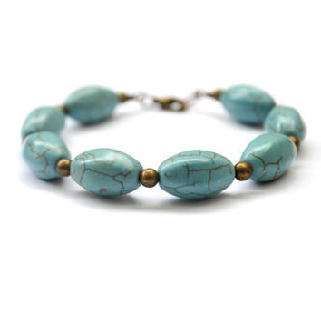 Turquoise Bracelet. Beaded Bracelet. Contemporary Jewelry. Natural Stone Jewelry. Antique Brass