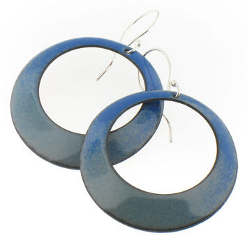 Large Handmade Hoop Earrings in Blue and Gray