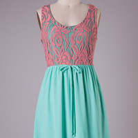 Simple Elegance Dress - Mint and Coral