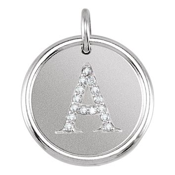 The Allison Diamond A-Z Initial Sterling Silver Necklace, 18 Inch