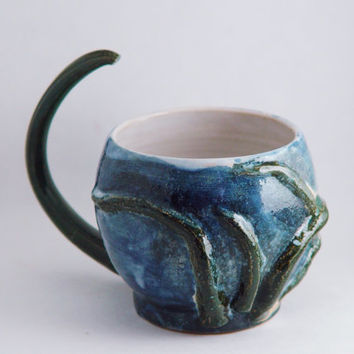 Octopus Mug 12 oz ounce Unique Tea Cup  Dark Green and Dark Blue, Wheel Thrown Pottery ceramic stoneware
