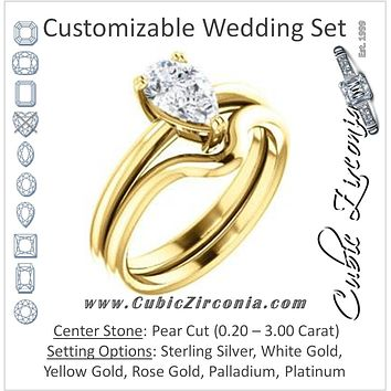 CZ Wedding Set, featuring The Venusia engagement ring (Customizable Pear Cut Solitaire with Thin Band)
