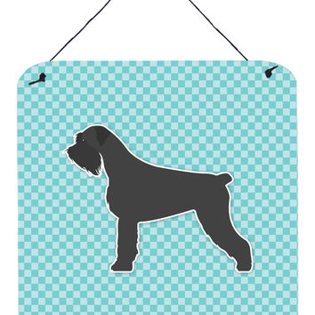 Giant Schnauzer Checkerboard Blue Wall or Door Hanging Prints BB3773DS66