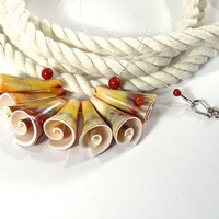 Sea Shell and Red Jasper Tropical Beach Necklace by bluetina
