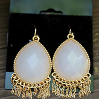 Cream Gemstone Fringe Earrings