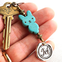 Monogram Keychain, Easter Bunny Keychain, Personalized Keychain, Initial Keychain, Easter Accessory Wax Seal, Many Colors Turquoise Keychain