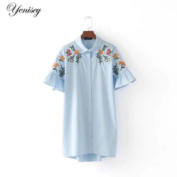 Fashion wind embroidery embroidered trumpet sleeve dress