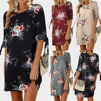 Womens Floral Bowknot Short Sleeve Mini Dress Cocktail Casual Party Dress Nice