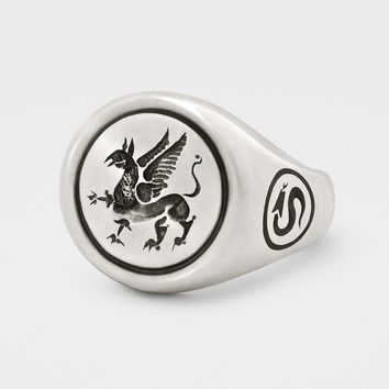 Griffin Signet Ring in Sterling Silver