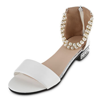 Summer Women Sandals Open Toe Women's Sandles Thick Heel Korean Pearl String Strap Style Gladiator Shoes