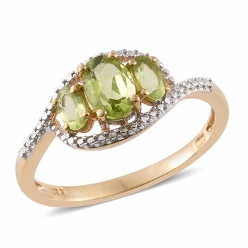 Peridot 14K Gold Over Sterling Silver 3 Stone Ring