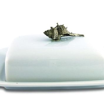 Conch Shell Stoneware and Pewter Butter Dish