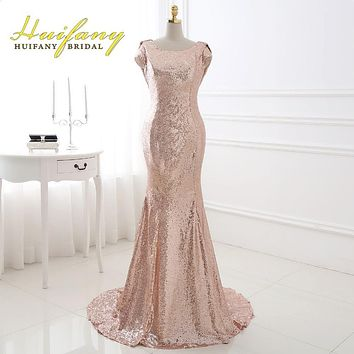 Huifany Rose Gold Sequins Bridesmaid Dresses Real Cap Sleeves Low Back Mermaid Maid of Honor Dress Plus Size Wedding Party Dress