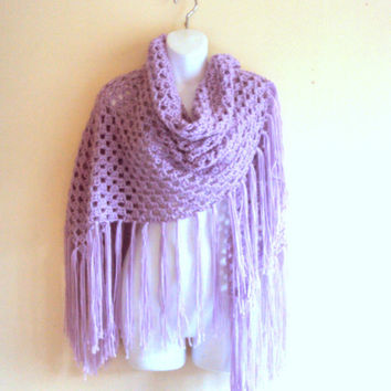 Boho Fringe Shawl Granny Square Shoulder Wrap Crochet Big Shawl Lavender Maternity Shawl Fashion Accessories Bridal Shawl FREE SHIPMENT