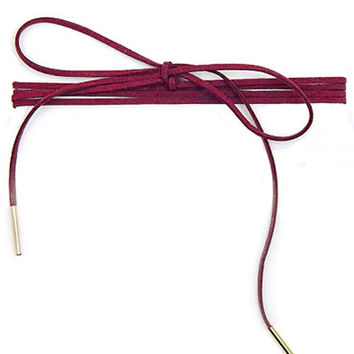 Long Faux Suede Tie Wrap Choker Matchstick Necklace - Raspberry