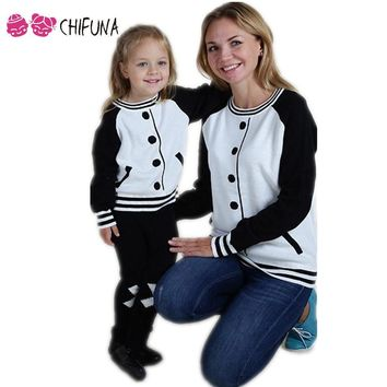 Hot 2017 Spring Girls Boys Sweater Kids Clothes Clothing A Fake Pullover Cardigan Baseball Clothes Family Matching Outfits