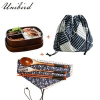 Unibird Wooden Japanese Oval Lunch Box with Bag&Spoon Chopsticks Sushi Food Container Kids Compartment Bento Box Dinnerware Set