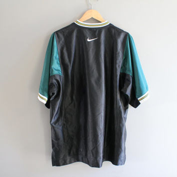 US Free Shipping Nike Jersey Nike T-shirt V neck Black Tee Pullover Short Sleeves Activewear Oversize Loose-fit Vintage 90s Size L #T118A