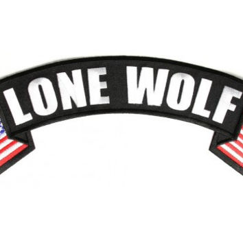 Lone Wolf Patch top Rocker US flag on sides for Vest Jacket 10 inch