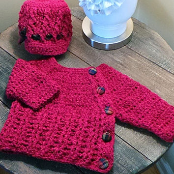 Baby Sweater Coat & Cabled Newsboy Hat Set in super soft dark red with navy and red plaid handmade buttons