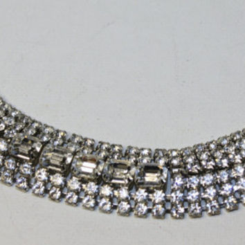 Gorgeous Vintage WEISS Wide Rhinestone Bracelet 1950 by patwatty