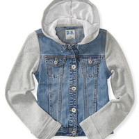 PS from Aero Girls Knit & Denim Hooded Jacket - Blue,