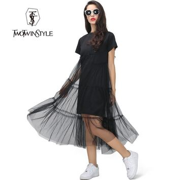 [TWOTWINSTYLE] Summer Korean Plus Size Splicing Pleated Mesh T shirt Dress Women Black Gray Color Clothing New Fashion