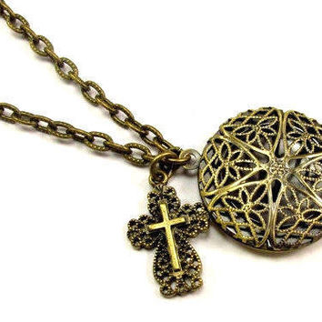 ON SALE - Aromatherapy Necklace, Essential Oil Locket, Diffuser Necklace, Beautiful Filigree Locket Necklace and Cross in Antique Brass