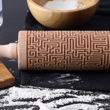 Maze Engraved Rolling Pin - Beech Wood Laser Embossing Rolling Pin