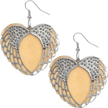 Tan Wooden Heart Wing Earrings