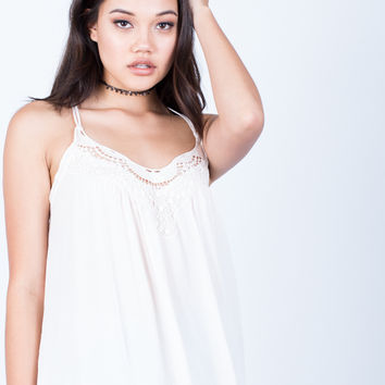 Strappy Crochet Trim Cami