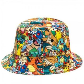 Pokemon Pikachu Charizard All Over Sublimated Bucket Hat Cap
