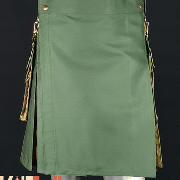 Olive Green Hybrid MultiCam Kilt Custom Made