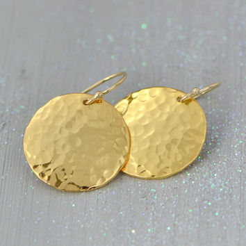 SALE Gold Vermeil Hammered Pendant - Yellow Gold Circle Necklace - Disk Pendant - Gold Jewelry - Hammered Texture