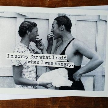Sorry For What I Said When I Was Hungry Funny Vintage Style Anniversary Card Valentines Day Card Love Card FREE SHIPPING
