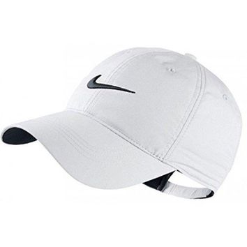 DCCKUG3 Nike Classic Golf Sun Cap Hat Dri-Fit Unisex Adjustable OSFM, Velcro Closure -White/Black