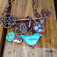 Skeleton Key necklace Boho Steampunk necklace Home Protection Bird's  Nest Hamsa Copper necklace